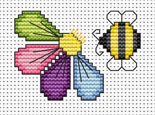 kit de carte de point de croix de fleur et d'abeille