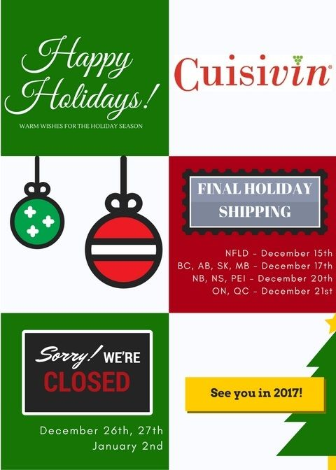 Dear Retailers - Last Days of Shipping for Cuisivin in 2016!