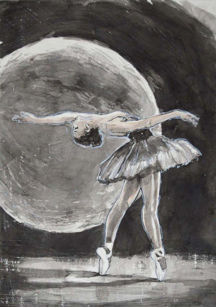 Pavel Kasparek: Dancer and the Moon / ink wash / 8 x 12 inch