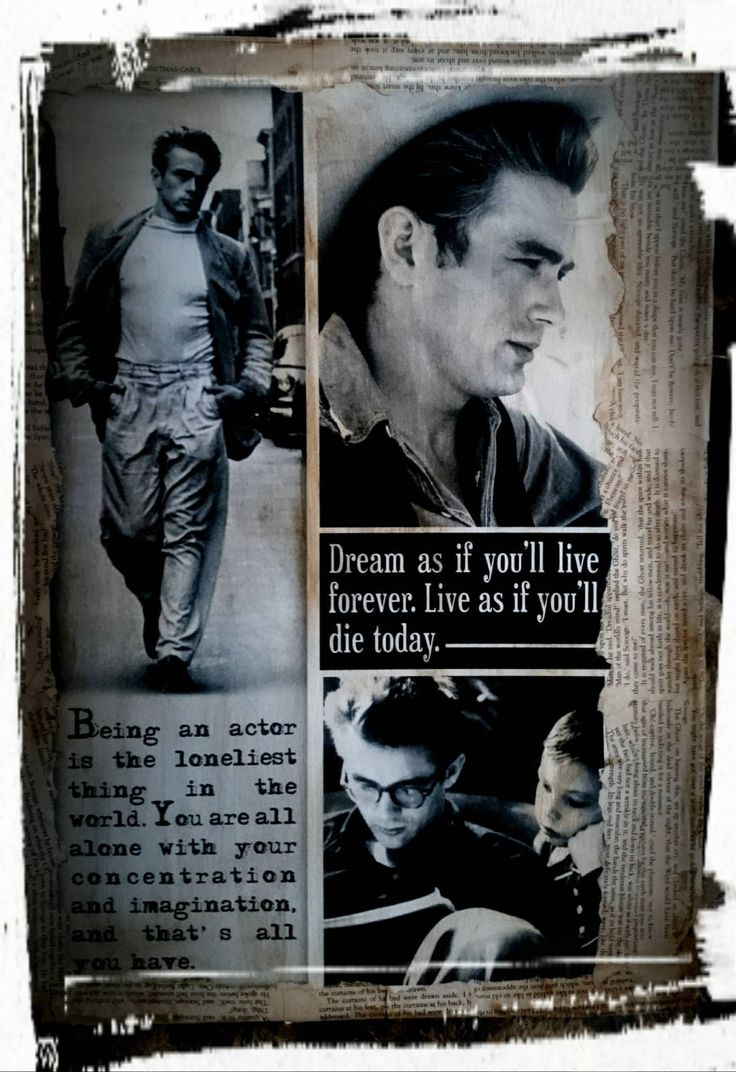 "James Dean-art wall,Decoupaged canvas with Quote:""Dream as if you'll life forever.Live as if you'll die today."" by MagdalenaMagic on Etsy"