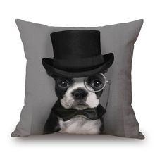 Pet Perro Bulldog Francés Fundas de Almohada Fundas de Almohada de Algodón de Lino Funda de Cojín Coche Cama Almohada para La Decoración Casera(China)