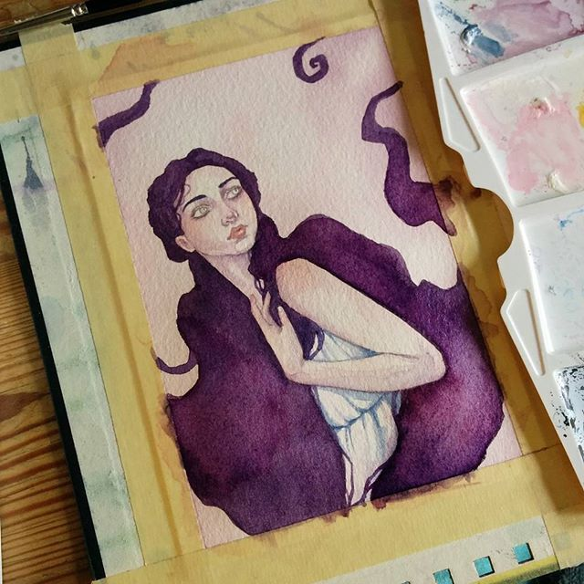 Hair is blocked in some shading on her dress is also done! Next up I will continue on her skin and face :) I hope you don't mind this little spam I work fast :p (and its tiny!) #wip #painting #watercolor by ellenwilbergart