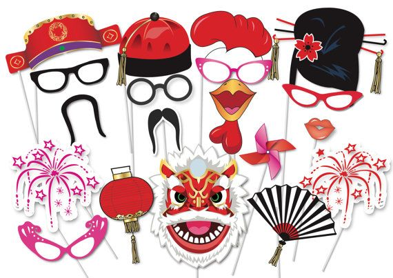 Here is the ultimate collection of Chinese New Year party photo booth props! Tons of Fun!! Great for a table centrepiece or Photo booth!  Contains 35 pieces:  ♥ Funny glasses ♥ Chinese hats ♥ Chinese moustaches ♥ Chinese hairstyles ♥ party whistle ♥ fire works ♥ Rooster beak ♥ Rooster Comb ♥ Chinese lantern ♥ speech bubble ♥ Year of the Rooster sign ♥ Lips ♥ Fan ♥ Chinese dragon   This listing inlcudes one (25) page PDF file with 35 photo props.  This listing is for the PRINTABLE FILE   The…