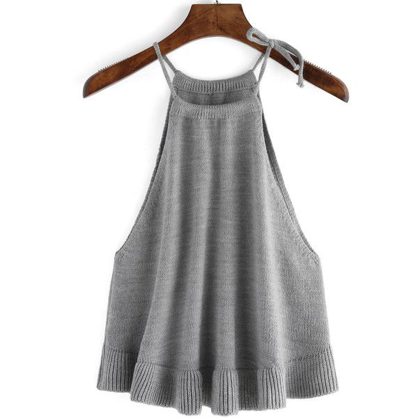 Halter Ruffle Sweater Grey Cami Top ($15) ❤ liked on Polyvore featuring tops, sweaters, grey, vest sweater, off shoulder sweater, gray sweater, sweater vest and off shoulder ruffle top