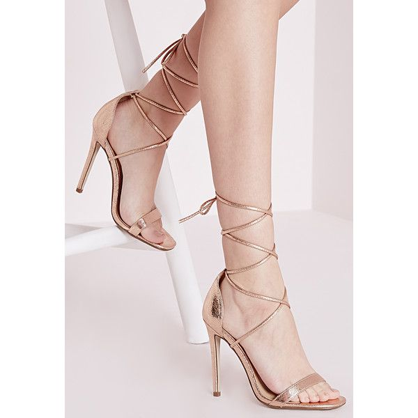 Missguided Lace Up Barely There Heeled Sandals ($43) ❤ liked on Polyvore featuring shoes, sandals, heels, rose gold, wrap around sandals, lace up high heel shoes, wrap shoes, laced sandals and lace-up heel sandals