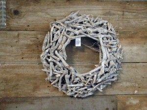 Houten krans L 50x10 grijs