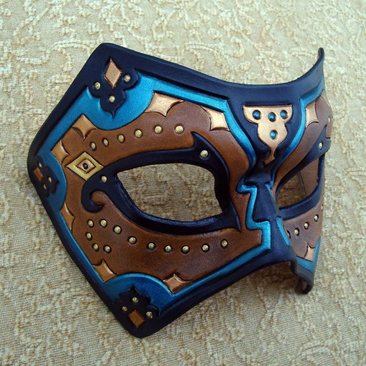 Teal Persian Leather Mask by merimask.deviantart.com