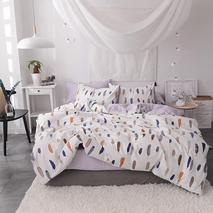 Bedding Double Sided Quilt Cover Set 100 Cotton Feather