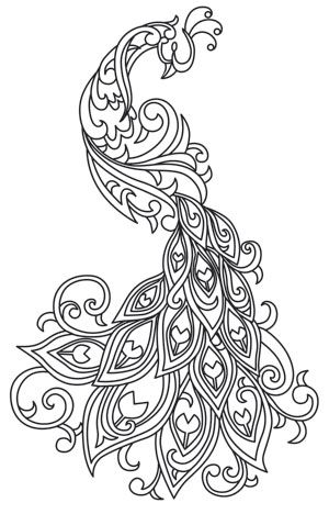 Rich line work soft swirls bring this exquisite peacock to life! Downloads as a PDF. Use pattern transfer paper to trace design for hand-stitching.
