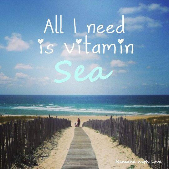 Quote All I need is vitamin sea Wil je zelf een quote op een persoonlijke foto zetten? Op mijn blog lees je hoe je dit eenvoudig doet in Word en Paint http://remadewithlove.nl/tekst-op-foto-zetten-met-word-en-paint/