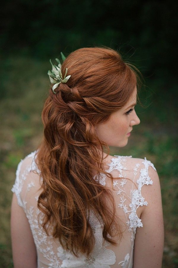 Red hair with a braid and curls. Hair & Makeup: Versa Artistry.