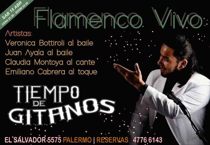 Este Sábado vení a disfrutar el show de Verónica Bottiroli y Juan Ayala al baile, Claudia Montoya al cante y Emiliano Cabrera al toque. Solo con Reservas al 4776 6143