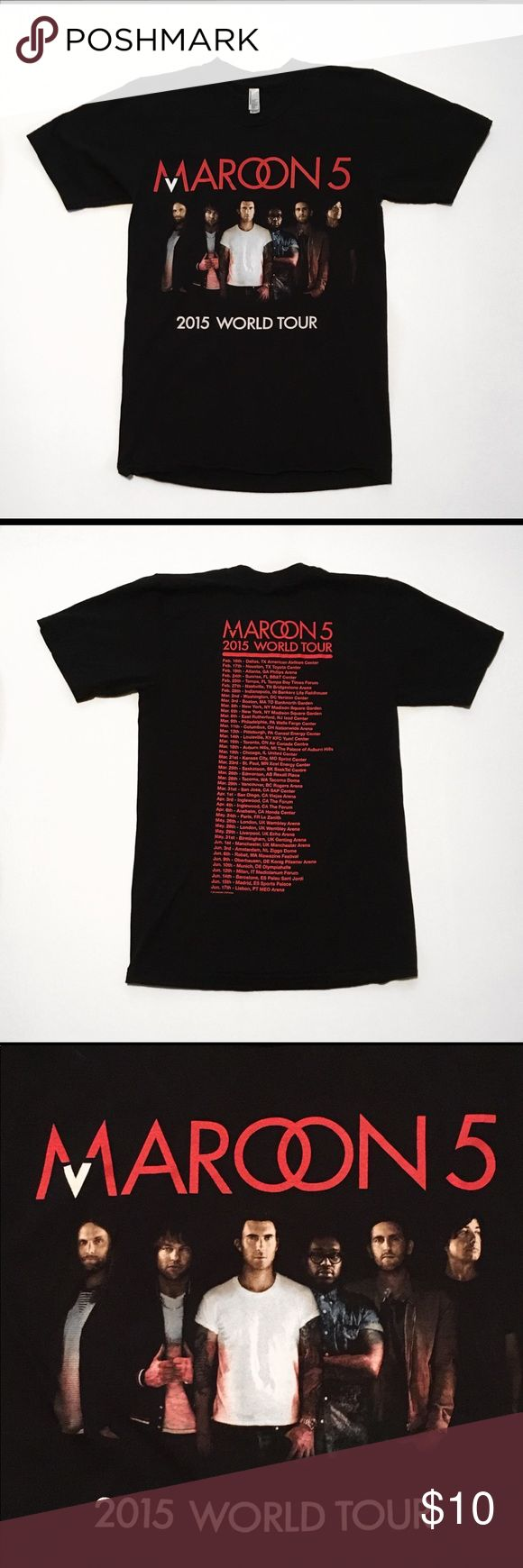 """Maroon 5 2005 World Tour Concert Shirt Small Maroon 5 """"2005 World Tour"""" Concert Graphic Screen Tee Adult Size Small With Fantastic Graphics On The Front And Back. In Great Used Condition With Great Color And No Tears Or Stains (Please See Photos).  Measurements: AP To AP-15"""" Length-26.5"""" American Apparel Shirts Tees - Short Sleeve"""