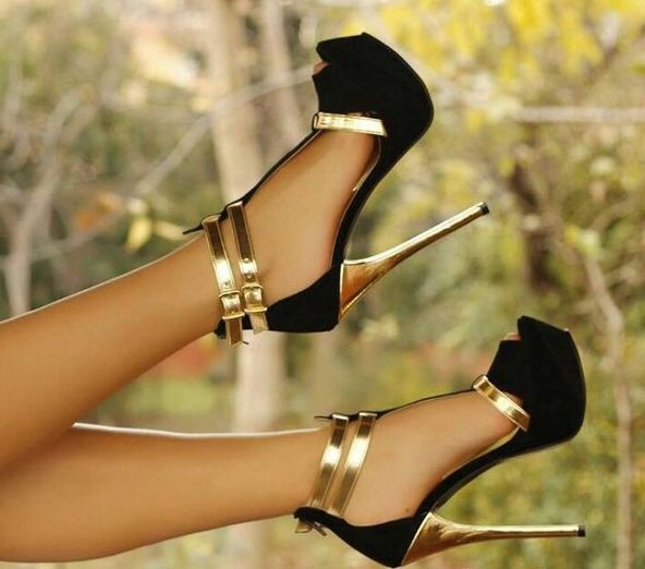 Gold and Black Suede