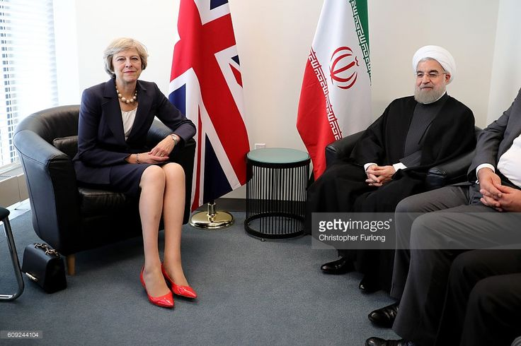 British Prime Minister Theresa May and the President of Iran, Hassan Rouhani pose as they meet before a bilateral meeting during the United Nations General Assembly on September 20, 2016 in New York City on September 20, 2016 in New York City. World leaders have gathered in New York for the 71st session of the UN General Assembly. The annual gathering is an opportunity for a number of high-level meetings, sideline bilaterals and think tank addresses concerning global issues.