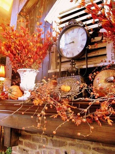 my husband will not like it if i replace the tv over our mantel with a clock.  i might do it anyway.: Holiday, Autumn Fall, Living Room, Fall Halloween, Autumn Decor, Fall Decorations, Fall Decorating