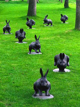 At the Shimane museum, near Lake Shinjiko Japan - In the park next to the art museum and along the lakeside promenade, bronze rabbits appear as if to be running. Known as the 'Shinji-ko Rabbits' and designed by Satoshi Yabuuchi