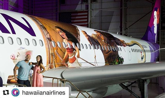 """#Repost @hawaiianairlines with @repostapp ・・・ Mahalo Dwayne @TheRock Johnson and @auliicravalho for joining us as we revealed the first of three #Moana - themed Airbus A330 today! #SoaringWithDisneyMoana.  Learn how you can have a chance to attend the Hollywood Premiere of """"Moana"""". Visit www.HawaiianAirlines.com/Moana. NO PURCHASE NECESSARY. LEGAL RESIDENTS OF AUSTRALIA, NEW ZEALAND & THE 50 UNITED STATES (D.C.), 18 YEARS AND OLDER (OR AGE OF MAJORITY IF OLDER). VOID WHERE PROHIBITED. For…"""