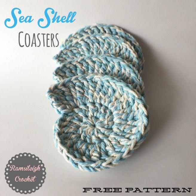 Sea Shell Coasters {FREE PATTERN} ༺✿ƬⱤღ  http://www.pinterest.com/teretegui/✿༻