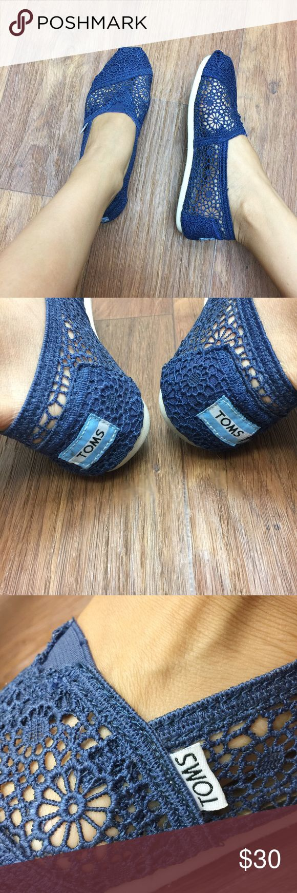 TOMS Navy Blue Lace TOMS! Only worn once, in excellent condition, very clean and like new! TOMS Shoes