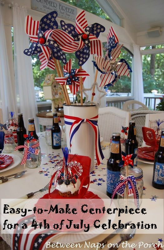 Easy 4th of july centerpiece table decoration outdoor for 4th of july decorating ideas for outside