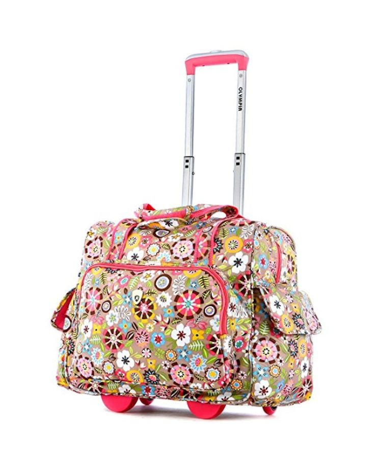Girls Carry On Luggage On Wheels For Women Suitcase Rolling Duffle Bright Geo  #Olympia #TravelBag