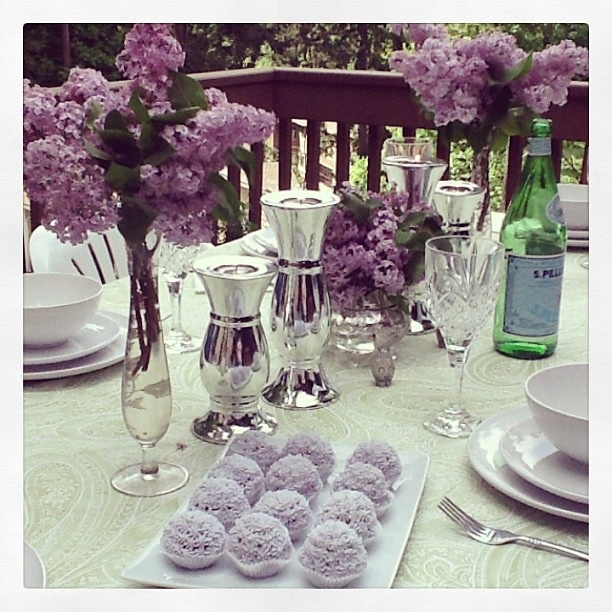 Amazing Dinner Party Ideas Part - 36: Motheru0027s Day Table Setting. Amazing Lavender Cake Pops! Lavender Purple Party  Ideas!