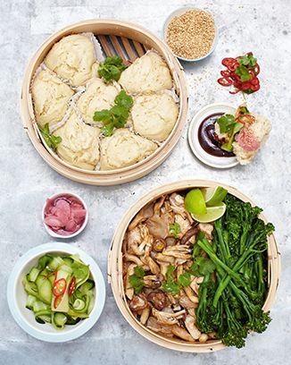Jamie Oliver: chicken dim sum, coconut buns, cucumber pickle & hoi sin sauce