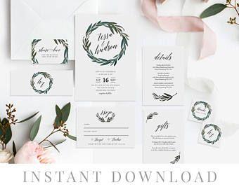 Green Wreath Wedding Invitation Set INSTANT DOWNLOAD, Wedding Invite, DIY Printable Invite, Templett, Editable pdf, Rustic Invites, Thistle