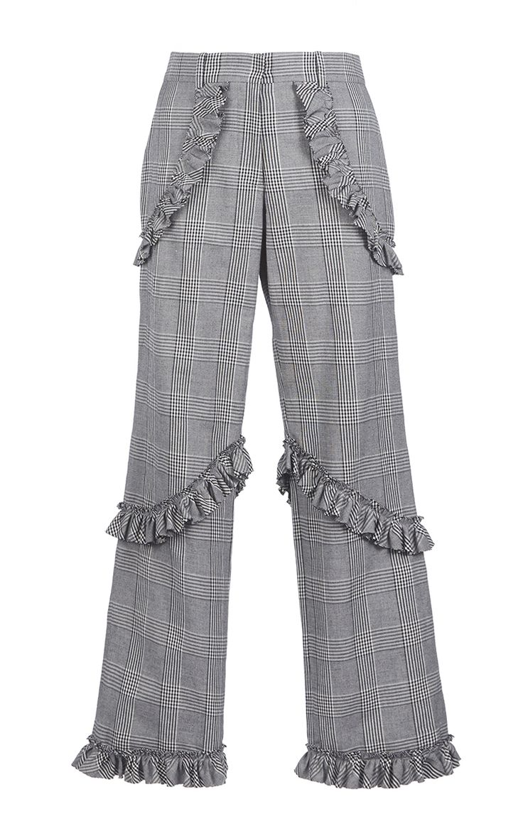 Prince Of Wales Check Frill Trousers by SIMONE ROCHA Now Available on Moda Operandi