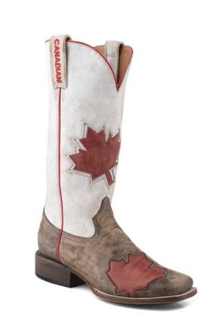 Womens Roper Canadian Flag Boot Square Toe Canadian Colle - Boots $239.95