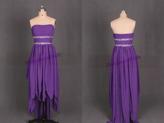 High low purple chiffon prom dresses with sequins,cheap women gowns in stock,2015 strapless dress for homecoming party.