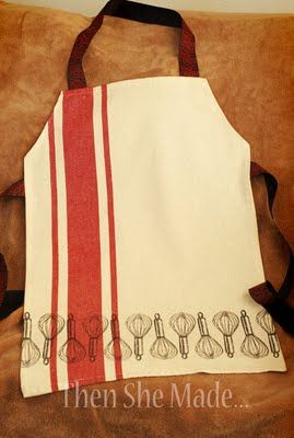 """Dish Towel Apron;easy enough to reproduce..have seen this made with """"ruffles"""" sewn to the front..Tea towels are the perfect size..."""