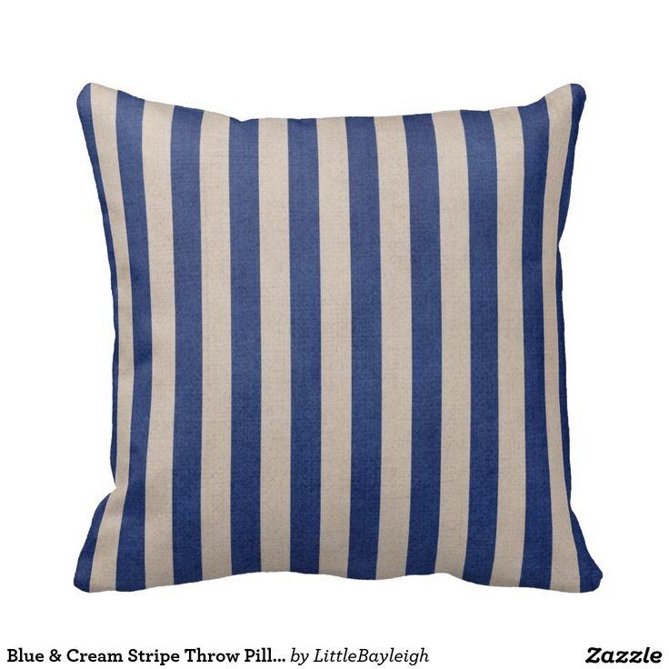 Blue And Cream Decorative Pillows : Blue & Cream Stripe Throw Pillow Blue cream