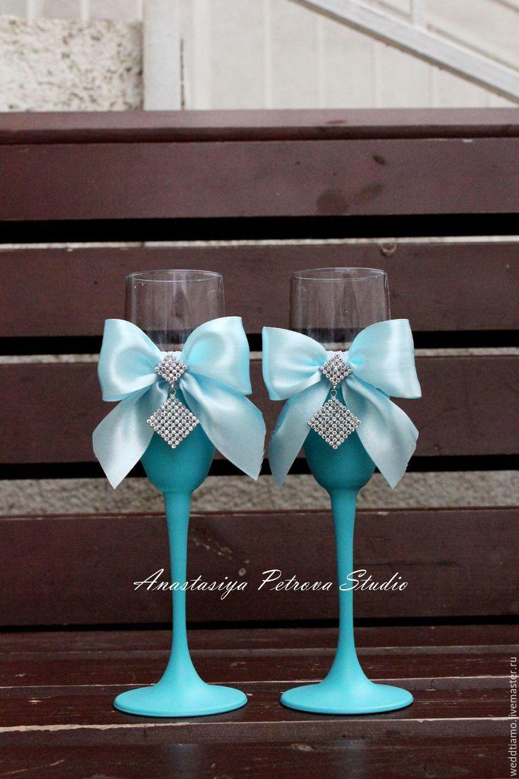"""Купить Свадебные бокалы """"Тиффани"""" - бирюзовый, свадьба, свадьба 2015, свадебные аксессуары, свадебные бокалы"""