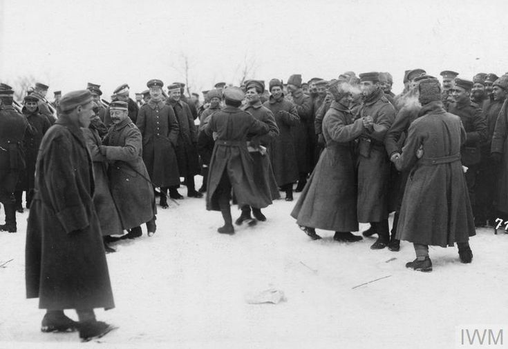 German and Bolshevik soldiers dancing with each other in the area of the Yaselda River at the time of the peace negotiations at Brest-Litovsk February 1918 [800 x 551]