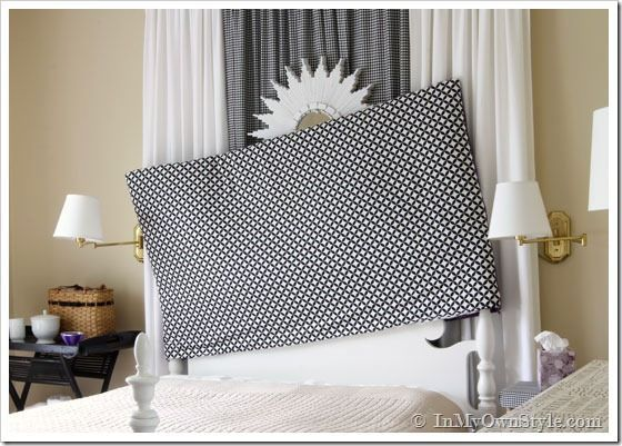 How to make an easy  padded headboard that slips over headboard like pillow case.  Use tension rod between posts...
