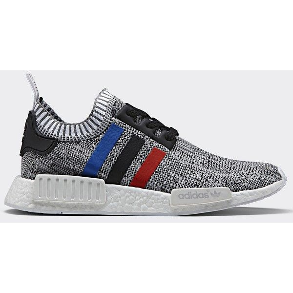 adidas Originals NMD_R1 Primeknit Tri-Color Sneakers ($163) ❤ liked on Polyvore featuring shoes, sneakers, adidas, adidas footwear, breathable shoes, adidas sneakers and adidas shoes