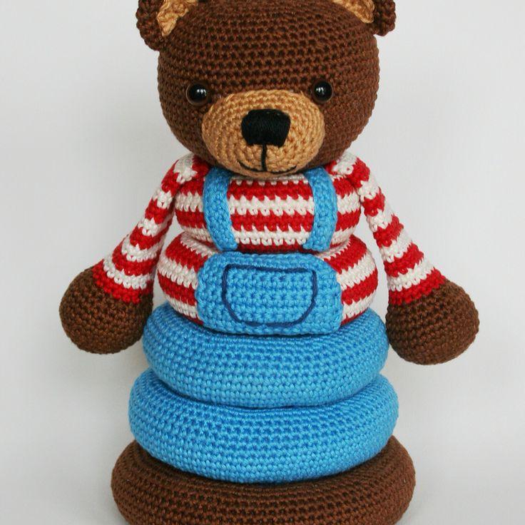 Crochet bear stacking toy pattern, $