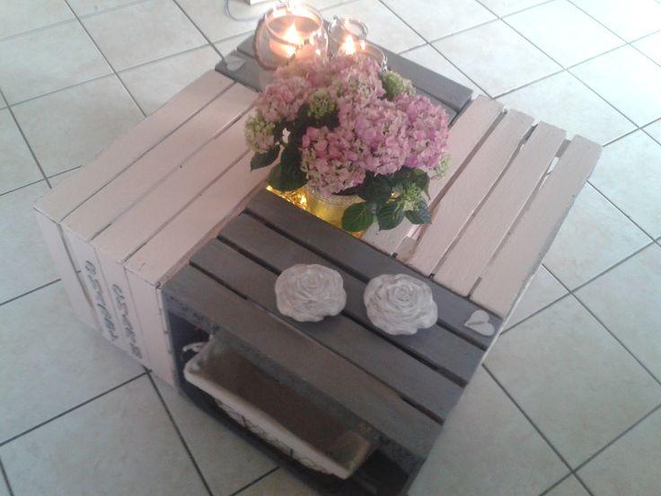 table basse r alis e par sophie d avec des caisses de pommes d co diy cajas pinterest. Black Bedroom Furniture Sets. Home Design Ideas