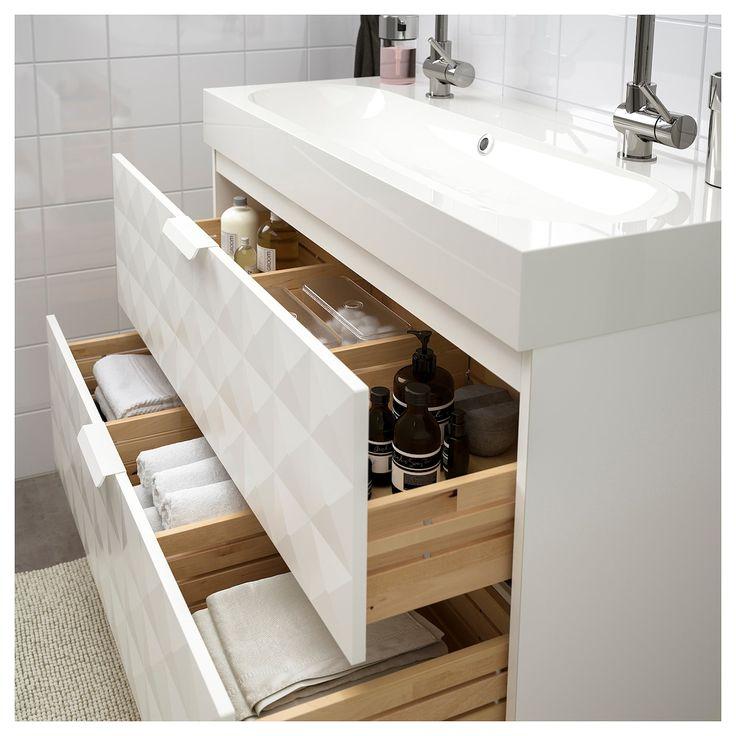 GODMORGON / BRÅVIKEN Sink cabinet with 2 drawers, Resjön white