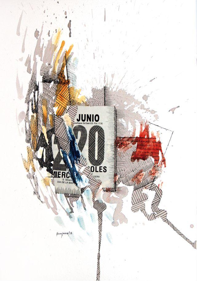 """""""Junio 20"""". Acuarela, vino y fibra sobre papel. 30 x 20 cm. 2012."""