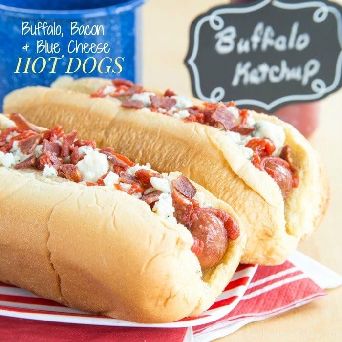 Buffalo, Blue Cheese, and Bacon Hot Dogs add a little kick and a ton of flavor to the classic hot dog. Your barbecue will never be the same!