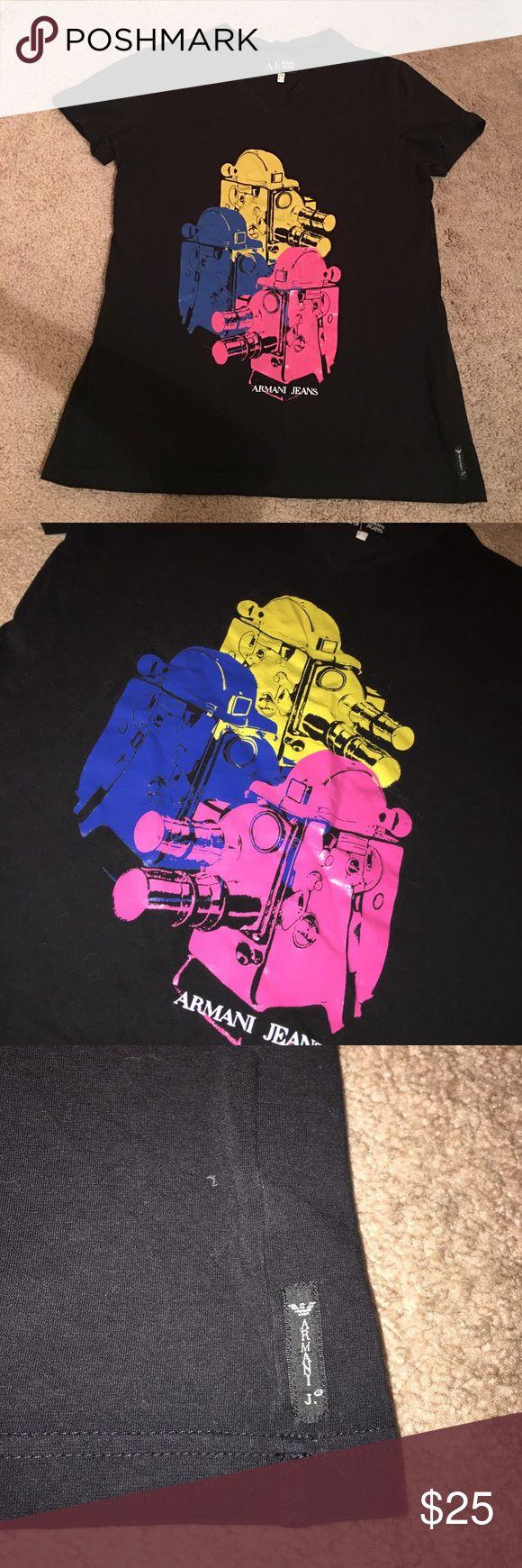 Men's Armani Jeans V Neck T Shirt Like new. No flaws. USA L, EU X-Large 95% cotton, 5% Elastane. Armani Jeans Shirts Tees - Short Sleeve