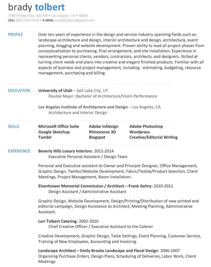 DISSECTING THE GOOD (AND BAD) RESUME IN A CREATIVE FIELD Career - design assistant sample resume