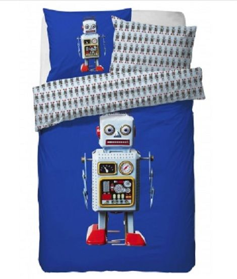 Covers & Co Dekbedovertrek Max robot cobalt blauw slaapkenner theo bot kind dekbed http://www.theobot.nl/collectie/13-bedtextiel/54-essenza.html