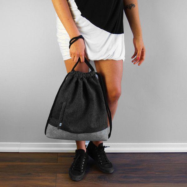 PLECAK WOREK 02 pojemny plecak z filcu i tkaniny - Torebki-Filcowe-Purol-Design - Plecaki