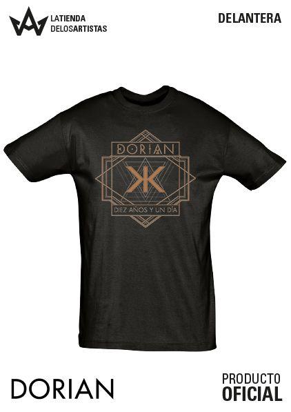 Camiseta de Chico de Dorian con logo del ultimo disco Diez años y un Día Merchandising Oficial.