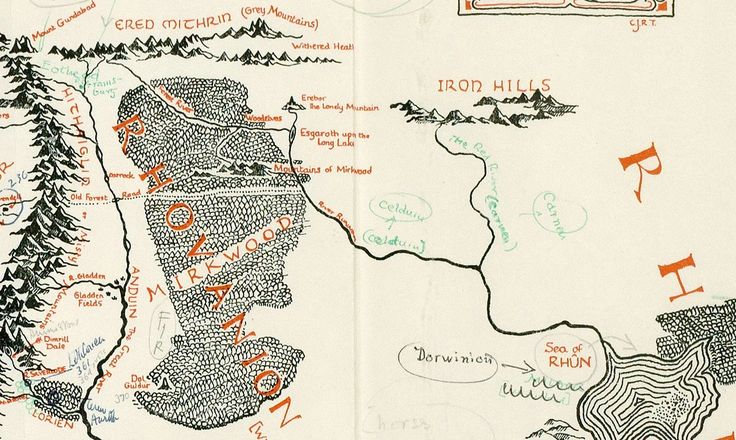 A Map Of Middle Earth Annotated By J.R.R. Tolkien