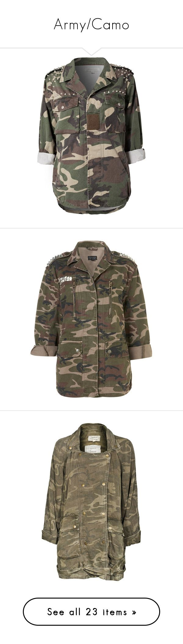 """""""Army/Camo"""" by jasminelara ❤ liked on Polyvore featuring outerwear, jackets, tops, shirts, coats & jackets, camouflage, oversized camo jacket, army camo jacket, studded military jacket and black jacket"""